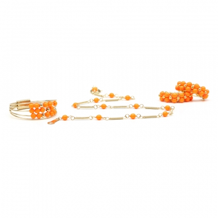 Handmade set for women - Ring, bracelet and MiniDiva earrings - Swarovski neon orange pearls -  Lady's Summer Set