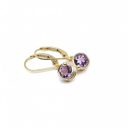 Leverback earrings for women - Busted Deluxe Brazilian Amethyst