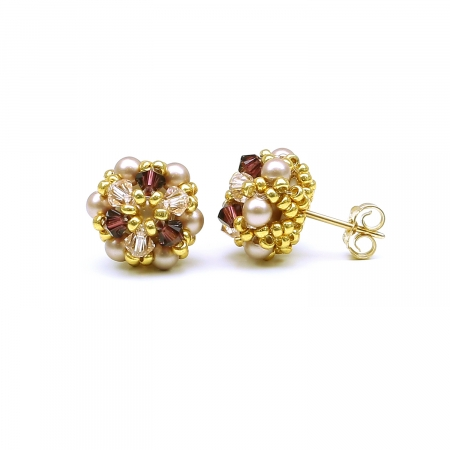 Handmade stud earrings for women with Swarovski pearls and crystals - Happy Bride