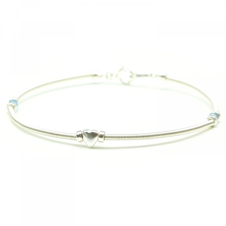 Handmade silver bracelet for women - blue gems and heart charm -  Vogue Aquamarine Shadow Heart