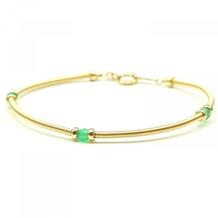 Handmade bracelet for women - green gems - Vogue Green Onyx