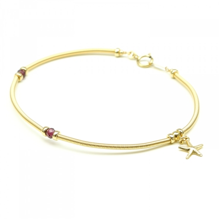 Handmade Bracelet for women - red gems, star charm - Vogue Rhodolite Garnet