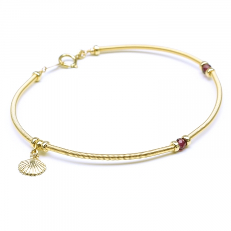 Gemstone bracelet by Ichiban - Vogue Rhodolite Garnet and shell charm