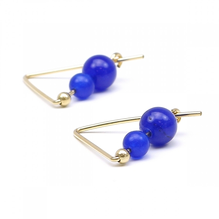 Gemstone earrings - for women - Fancy Agate Blue