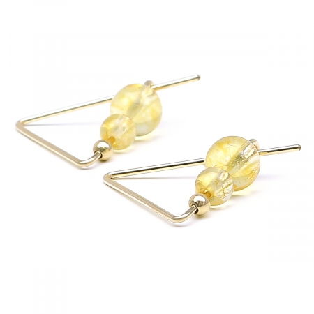 Gemstone earrings - for women - Fancy Citrine