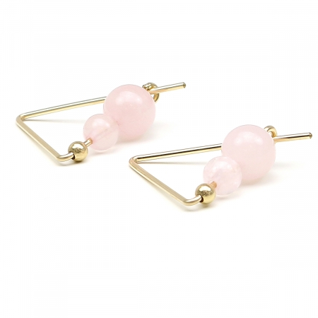 Gemstone earrings - for women - Fancy Rose Quart
