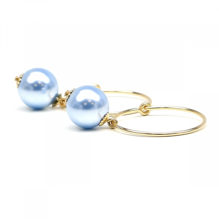 Earrings by Ichiban - Circle Light Blue