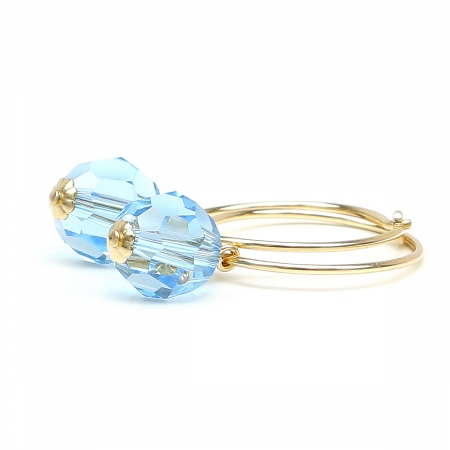 Earrings by Ichiban - Circle Crystal Aquamarine