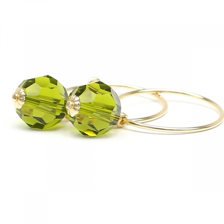 Earrings by Ichiban - Circle Crystal Olivine
