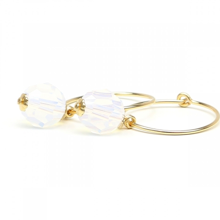 Earrings by Ichiban - Circle Crystal Opaline