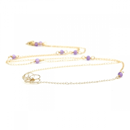 14K gold necklace by Ichiban - Flower Power Amethyst