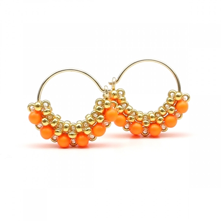 Earrings by Ichiban - MiniDiva Pearls Neon Orange