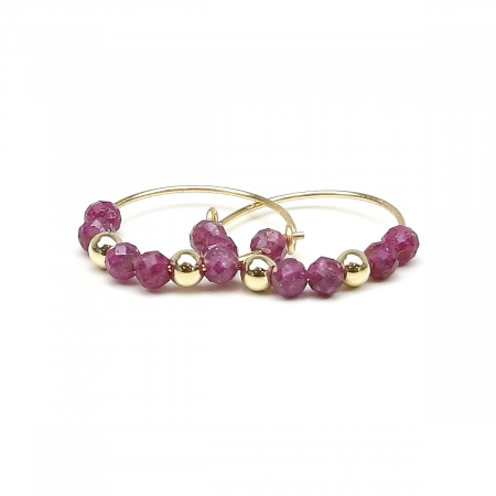 Earrings by Ichiban - Simple Style Ruby 14K gold