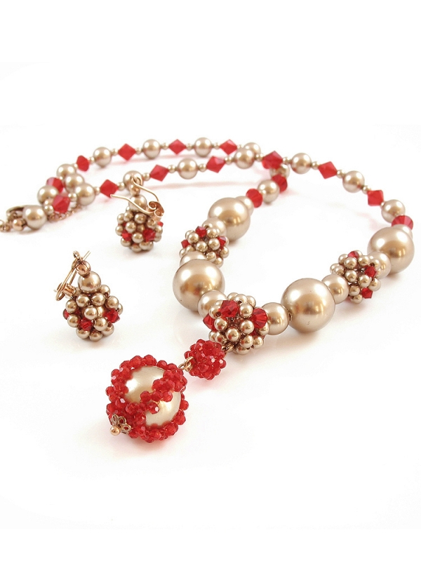 Lady in Red set - necklace and earrings