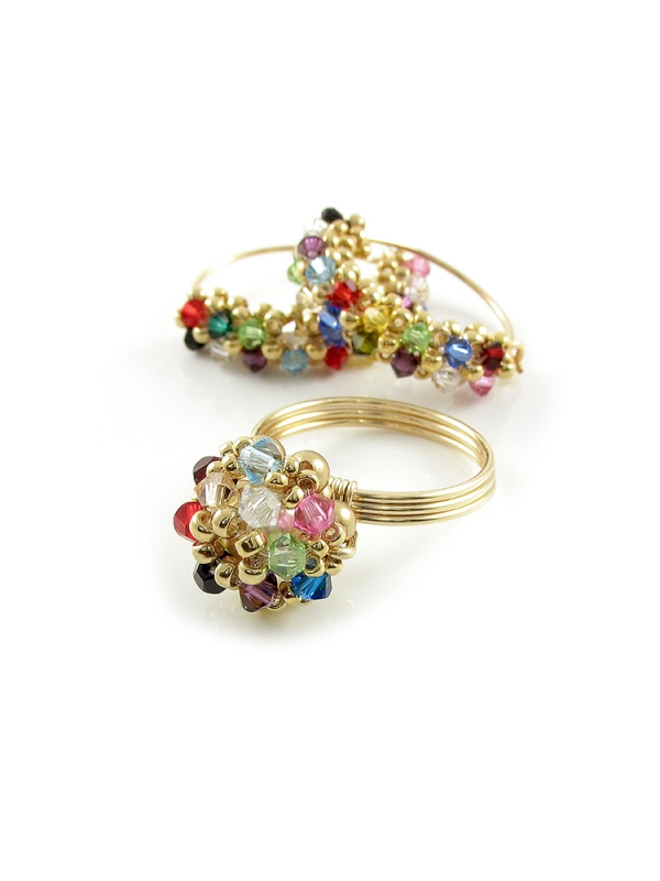 Primetime Multicolor set - ring and earrings