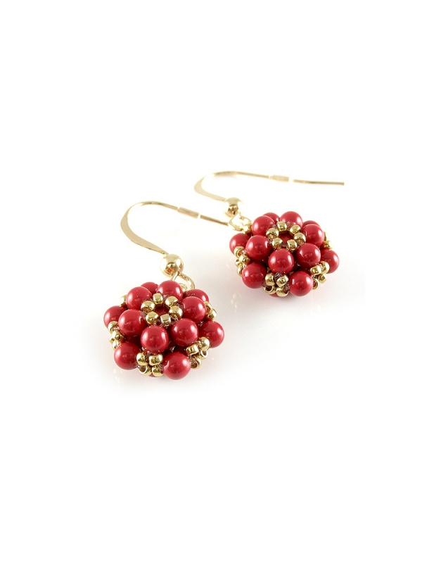 Daisies Red Coral - earrings