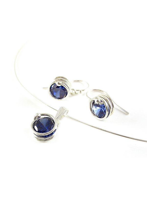 Set pendant and earrings by Ichiban - Busted Silver Dark Blue