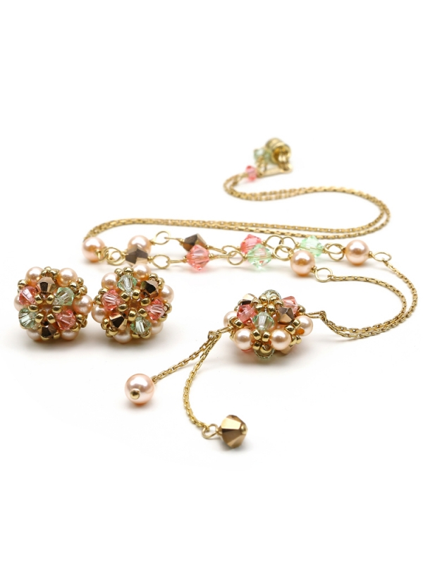 Set with Swarovski pearls and stud earrings - for women - Happy Peach