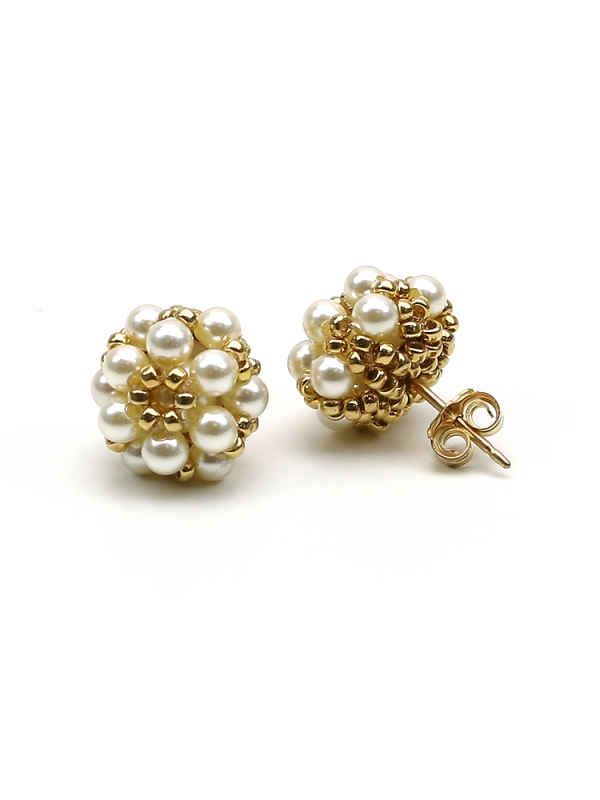 Stud earrings with Swarovski pearls - for women - Daisies Cream