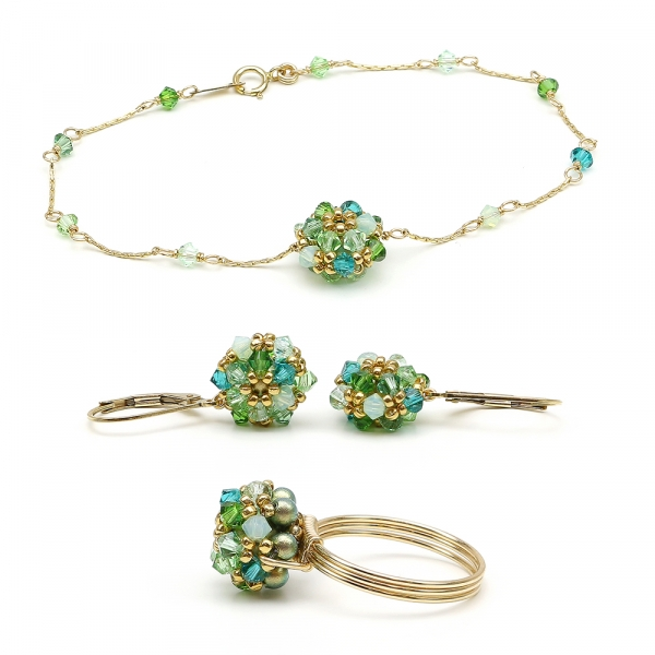 Herba Fresca set - bracelet, leverback earrings and ring