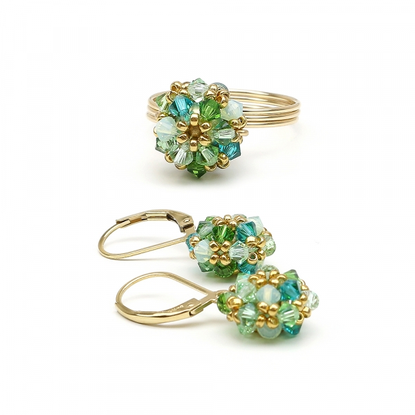Herba Fresca set - leverback earrings and ring