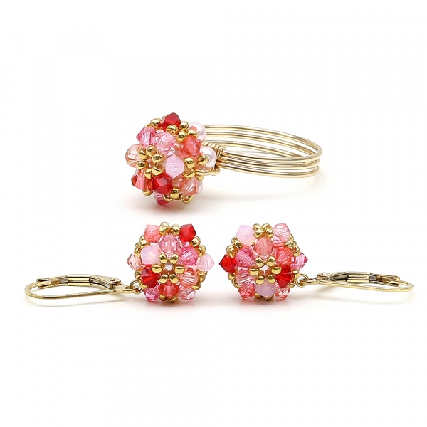 Set with Swarovski crystals - leverback earrings and ring - for women - Daisies Tutti Frutti