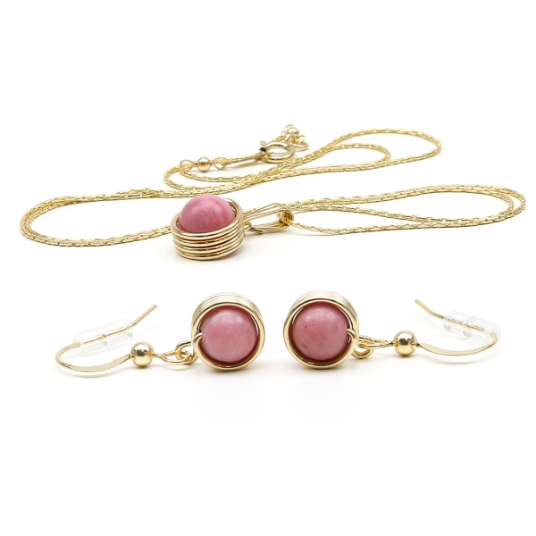 Gemstone pendant and earrings for women -  Busted Gemstone Rhodonite set