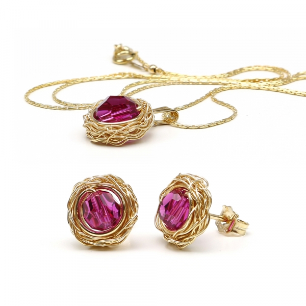 Sweet Fuchsia set - pendant and stud earrings