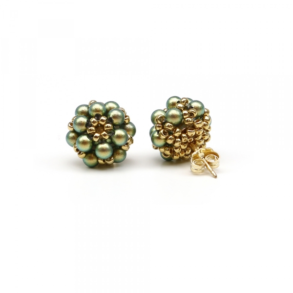 Daisies Iridescent Green - stud earrings