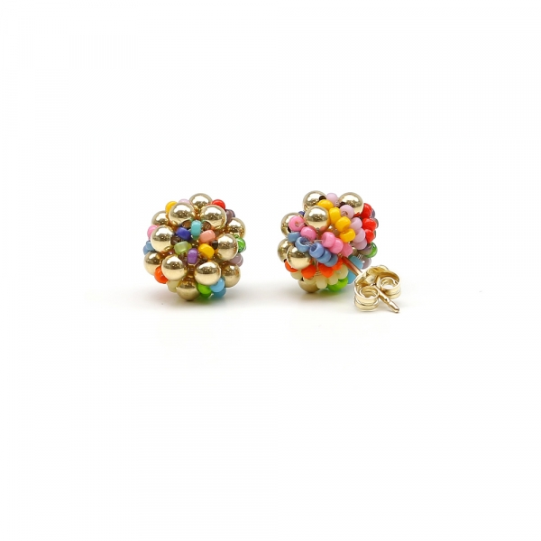 Handmade stud earrings - for women - Golden Daisies Miyuki Multicolor