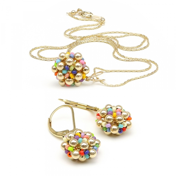 Golden Daisies Miyuki Multicolor set - pendant and leverback earrings