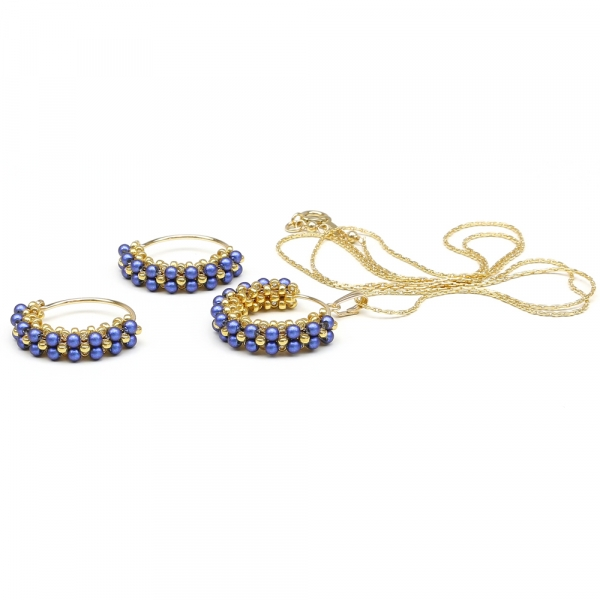 Primetime Pearls Iridescent Dark Blue set - pendant and earrings