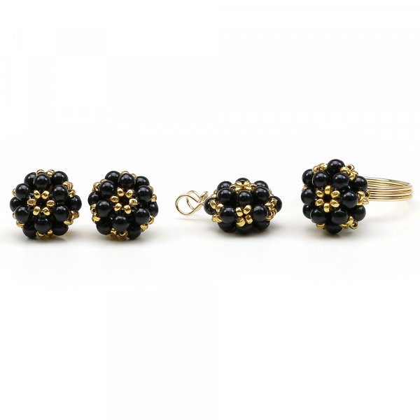 Swarovski pearls set for women - pendant, stud earrings and ring - Daisies Mystic Black set