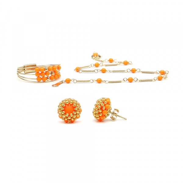 Handmade set for women - Ring, bracelet and stud earrings - Swarovski neon orange pearls -  Lady's Summer Set