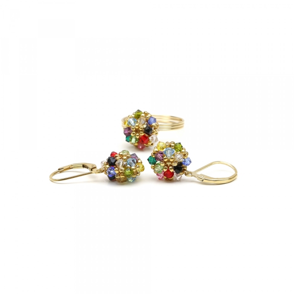 Set with Swarovski crystals - ring and leverback earrings -  for women - Daisies Multicolor