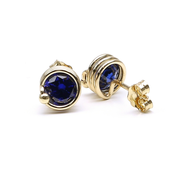Blue Zirconia stud earrings for women - Busted Dark Blue