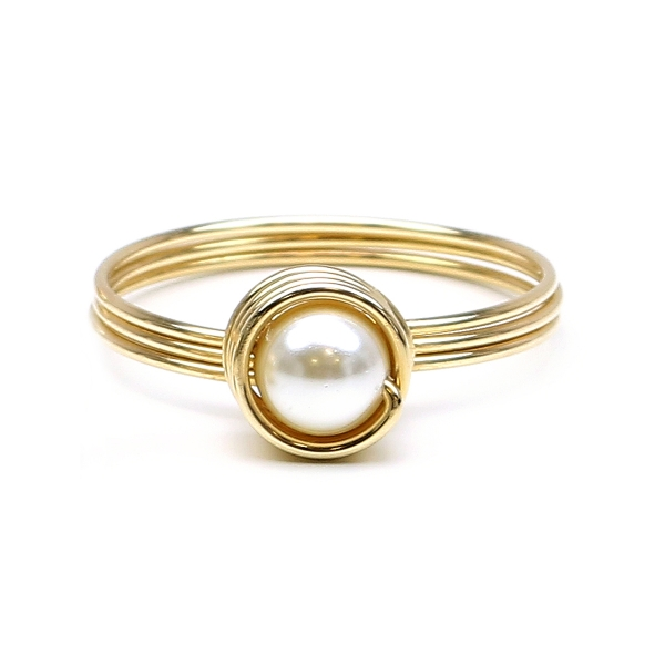 Swarovski pearl ring for women - Busted Pearls Cream