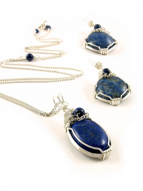 Set pendant and dangle earrings by Ichiban - Lapis Lazuli