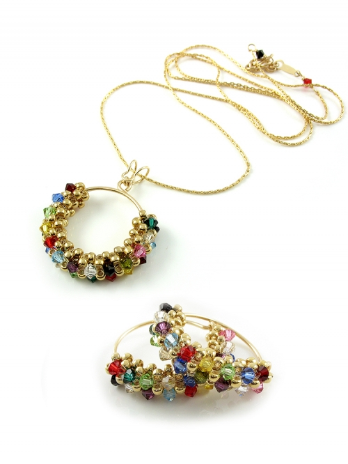 Primetime Multicolor set - pendant and earrings