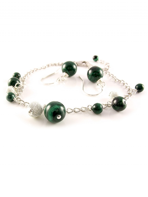 Set bracelet and dangle earrings by Ichiban - Malachite