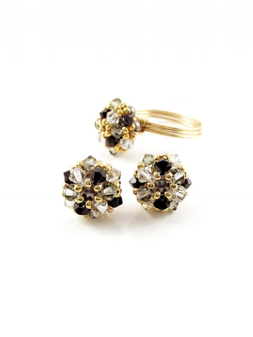 Daisies B Diamond set - ring and earrings