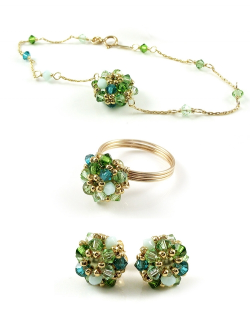 Set ring, bracelet and stud earrings by Ichiban - Daisies Herba Fresca