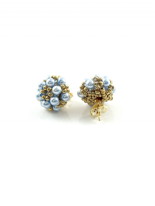 Stud earrings by Ichiban - Daisies Light Blue