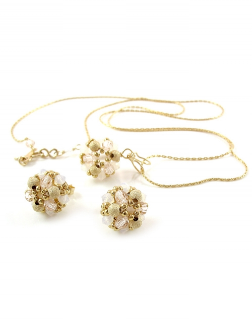 Set pendant and stud earrings by Ichiban - Daisies Ivory