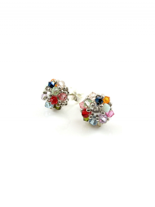 Stud earrings by Ichiban - Daisies Multicolor Light AG925