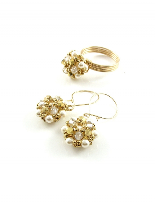 Daisies Aurum set - ring and earrings