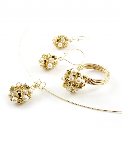 Daisies Aurum set - pendant, ring and earrings