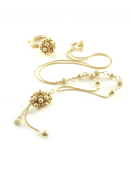 Golden Daisies set - necklace and ring