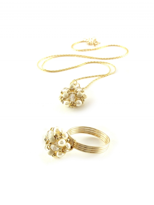 Daisies Stardust set - pendant and ring