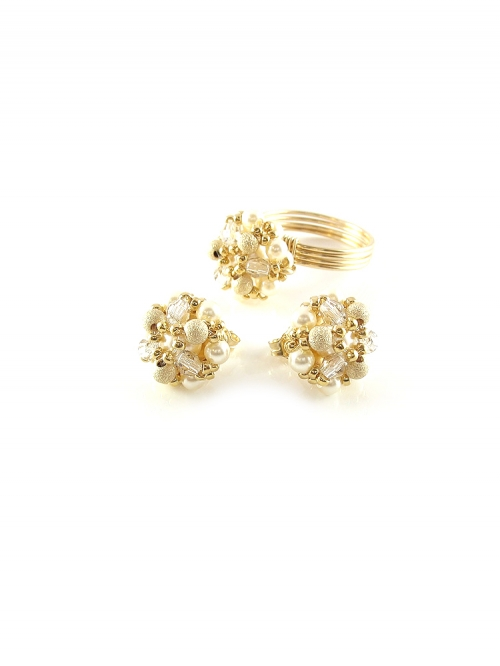 Daisies Stardust set - earrings and ring